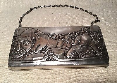 Russian 84 Antique Sterling Silver Mythological Warrior & Animal Purse Case