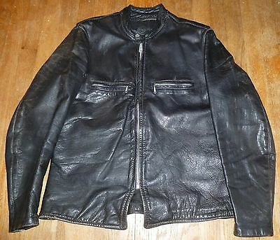 Outstanding Vintage Brooks Cafe Racer Leather Motorcycle Jacket - Tag Size 44