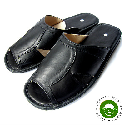 Luxury Handmade Men's Slippers Shoes, REAL LEATHER Open Toe, Black, Size 42-46