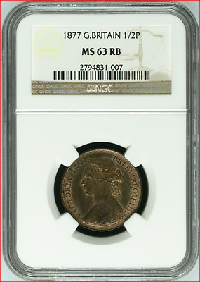 1877 Great Britain 1/2 Penny, Very High Grade!