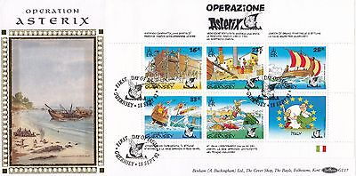 (00600) CLEARANCE GB Guernsey Benham FDC Operation Asterix pane 1992 331 of 500