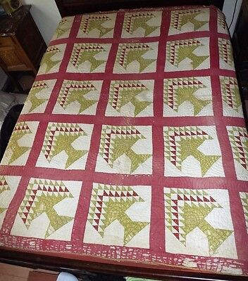 Antique Quilt 1850 Civil War Era Red and Green Pine Tree Quilt