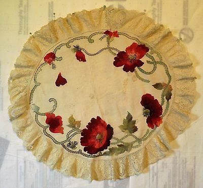 Antique Vintage Arts & Crafts Linen Table Round AMAZING Silk Embroidery Poppies