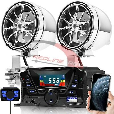 Bluetooth Motorcycle Audio Stereo Speakers System Honda Yamaha Kawasaki Harley