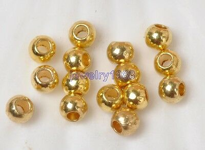 50pcs Tibetan Silver Charm Round Gold Loose Spacer Beads DIY Jewelry 4MM F3337
