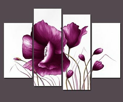 Purple Flower Canvas Oil Painting Pictures Wall Art Home Decor Poster