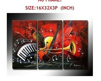 Hand-painted the Music Score Wall Art Decor Landscape Oil Painting on Canvas 3pc