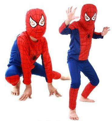 Children Boys Cotton Spiderman Costume Long Sleeved Cosplay Outfit Fancy Dress M