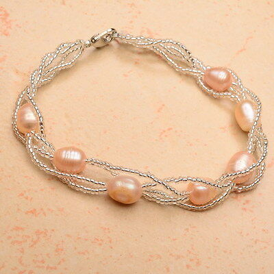 "Fantastic! 7 3/4"" 18K White Gold Plated Creamy Pearl Bracelet"