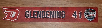 Luke Glendening Detroit Red Wings Game Used Stadium Series Nameplate HTA LOA