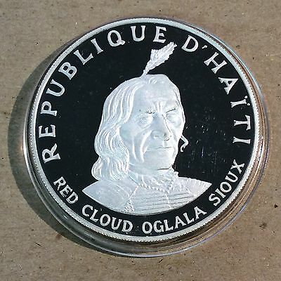 Haiti 1971 10 Gourdes - Silver Proof - Red Cloud Oglala Sioux - Mintage 3735