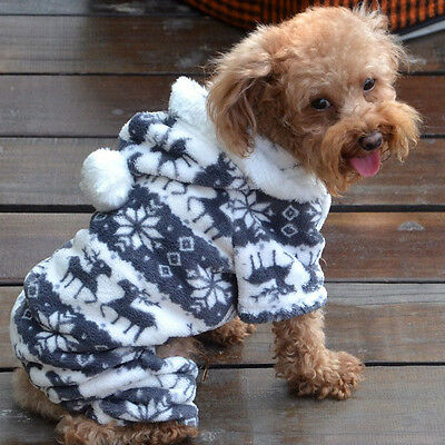 Lovely Pet Dog Winter Warm Jumpsuit Clothes Puppy Cat Hoodie Coat Sweater   A