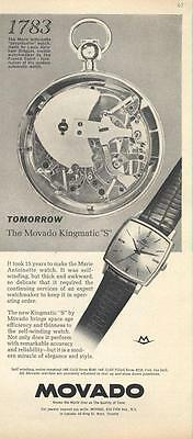 "1962 Movado Watch PRINT AD feat:1783 perpetual Breguet  Tomorrows Kingmatic ""S"""