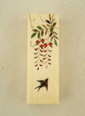 Meiji Japanese Shibayama inlaid Coral & Mother Of Pearl bird scene lidded box