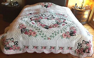 VTG Handstitched Floral Bouquet Hearts Applique Antique Quilt Unwashed Unused!