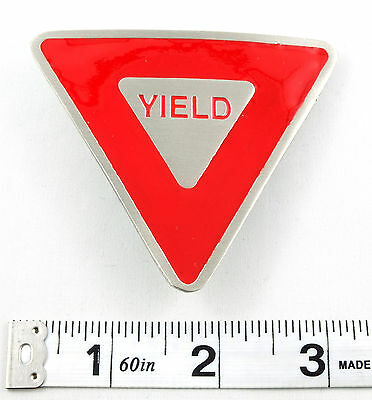 Yield Sign Traffic Road Stop Driving Belt Buckle Unisex Red and Silver PUU