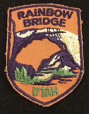 RAINBOW BRIDGE Vtg Patch UTAH State Souvenir Travel VOYAGER Embroidered