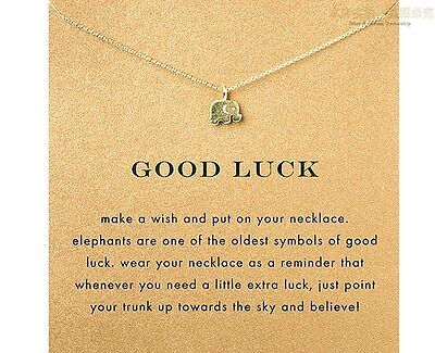 Good Luck Elephant Necklace Gold Tiny Charm Cute ANIMAL RESCUE DONATION