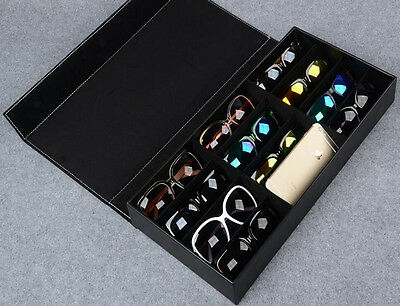 12 Slots Faux Leather Sunglass Display Box Counter Stand Jewelry Storage Case