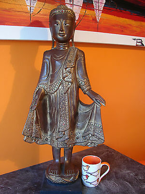 Rare Large Wooden Standing Thai Buddha with Sealed Fine Arts Export label