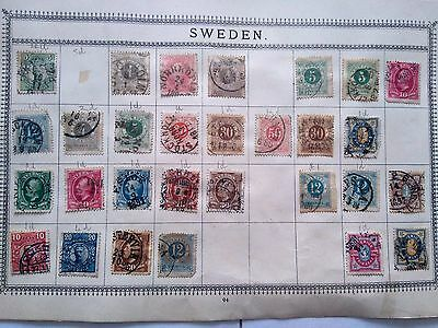 3 Page Collection of Early Swedish Stamps Removed from Old Album of High Values