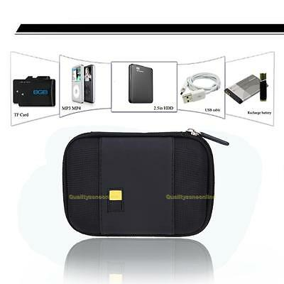 """Hard Sailcloth PU Carrying Case Bag Pouch for 2.5"""" inch External Hard Drive Disk"""