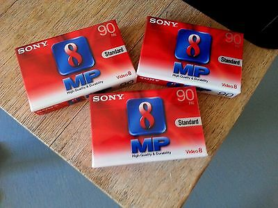 Sony Video 8 Mp 90  Pal Cassettes X 3 New & Sealed...!!