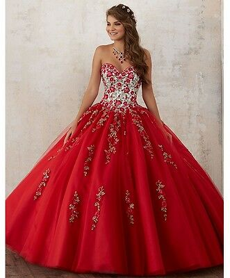a6aa40a3a9d Red Sweetheart Tulle Embroidery Ball Gown Quinceanera Dresses Long Prom  Dresses