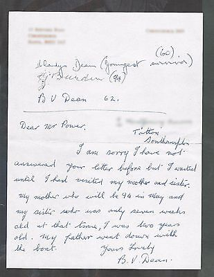 Very rare original letter signed by THREE survivors of TITANIC  Superb condition