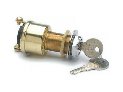 Cole Hersee M-489 +12VDC 10A Off/On(Ign) Brass Auto Marine Keyed Ignition Switch