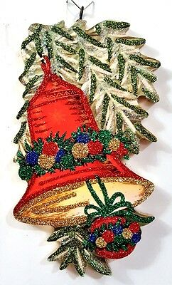 RED HOLIDAY BELL in PINE * Glitter CHRISTMAS ORNAMENT * Vtg Img