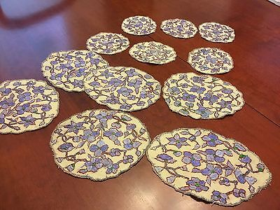 12 Vintage Hand Embroidered Doilies - Heavily Hand Embroidery