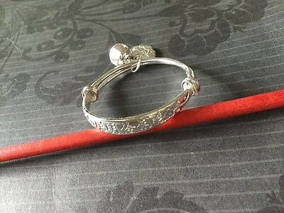 Silver 925 Baby Bangle Bell/Lucky Charm UK Seller Free Post Gift Bag