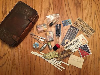 Antique Leather Sewing Kit And Contents J.A. Coates  Needle Holders Etc.
