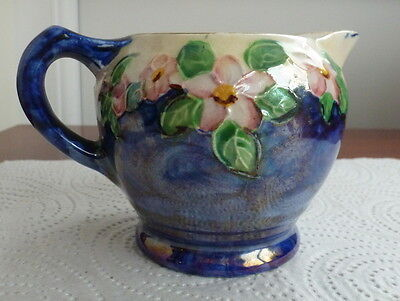 Nice Maling Blue  Lustre Small Jug With Flowers