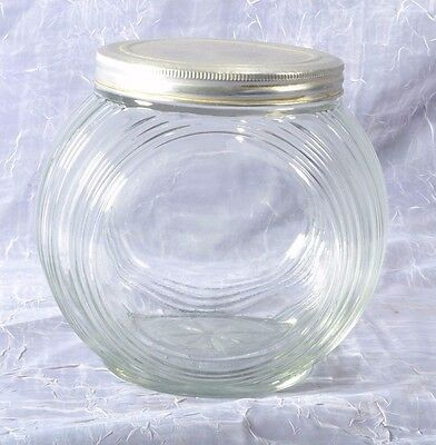 Antique Country Store Round Hoosier Jar Tin Lid Ribbed Glass Star on Bottom 5-6""