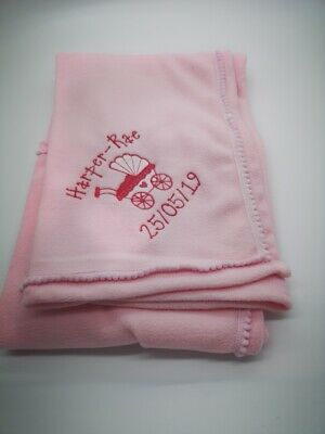 personalised baby pram  embroidered BABY BLANKET 75CM-75 CM  SOFT & cosy new!