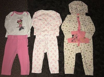 Baby Girls X2 Two Piece Pj Sets Minnie Mouse 6-9 Months Hooded Onesi