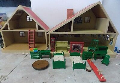1980s Sylvania Families Epoch Cottages & Green Furniture Set Collection