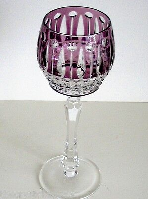Faberge Xenia Imperial Amethyst Cased Cut To Clear Crystal Wine Goblet Signed