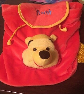Winnie the Pooh Plush Yellow,Red Backpack With Drawstring .