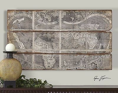 """City Map Print Wall Art Antiqued Planked Rustic Wood Frameless 47"""" Large New"""