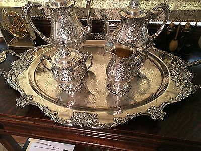 WALLACE STERLING SILVER Sir Christopher TEA SET 4-PC with large silverplate tray