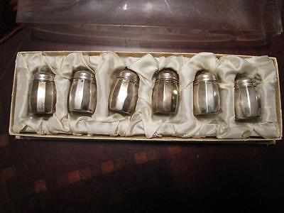 "Sterling set of mini salt shakes in original box, c1940s, 1 ½"" tall [cutlery]"