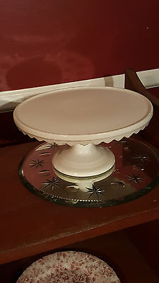 ANTIQUE RARE CRISP WHITE 10 3/4 Inch IRONSTONE PEDESTAL CAKE STAND GREAT!