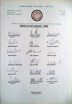 Zimbabwe World Cup To England 1999 – Cricket Official Autograph Sheet