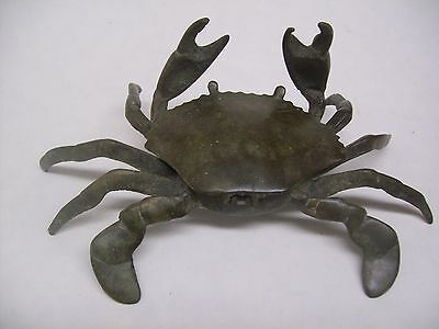 Vintage Brass Crab Ashtray With Movable Front Claws And Hinged Top