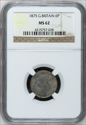 1875 Great Britain Sixpence, MS 62!