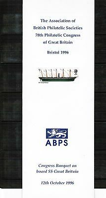 ABPS 78th Philatelic Congress of Great Britain Bristol 1996 Banquet card