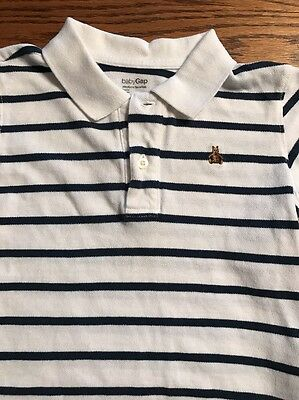 Baby Gap Toddler Boys Size 4T Navy, White Striped Short Sleeve Polo Shirt